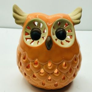 "Ceramic Owl Tea Light Candle Holder 6"""